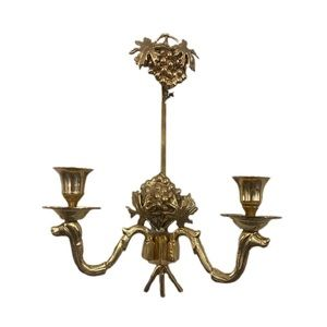 Vintage brass grape candle sconce